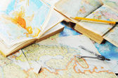 Map and pensil — Stock Photo