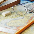 Map and glasses — Stock Photo #4378733