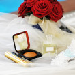 Cosmetics  and wedding rings — Lizenzfreies Foto