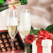 Royalty-Free Stock Photo: Gift in box and champagne