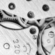 Watch mechanism very close up - Foto Stock