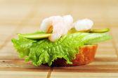Sandwich with shrimps — Stock Photo