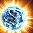 Stock Photo: Earth and sun.