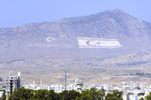 Huge Northern Cyprus and Turkey flags — Stock Photo