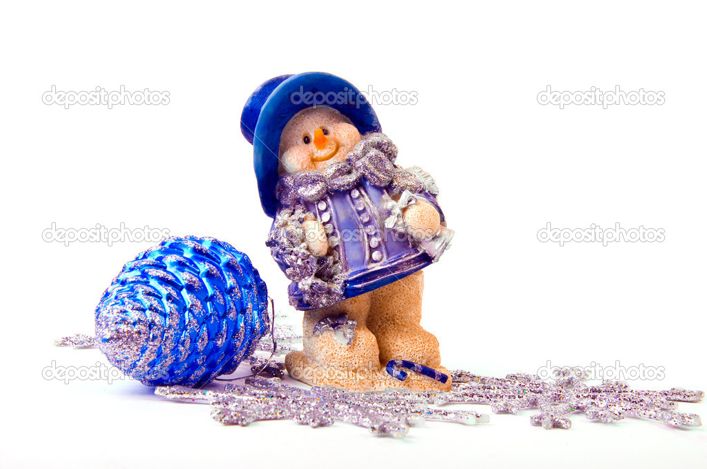 Toy snowman on a white background — Stock Photo #3980164