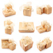 Collage of gold gifts - Foto Stock