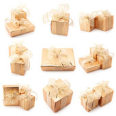 Collage of gold gifts — Stock Photo