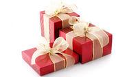 červené fólie dárky — Stock fotografie