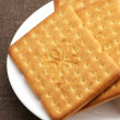 Crackers in plate — Stock Photo