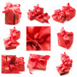 Collage of red gifts — 图库照片