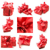 Collage of red gifts — Foto Stock