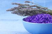 Bath salt and lavander — Stock Photo