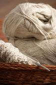 Knitting in basket — Stock Photo