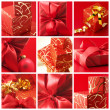 Collage of red gifts — Stockfoto