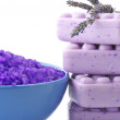 Bath salt, soap and lavander — Stock Photo #4119174