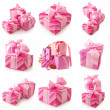 Collage of pink gifts - Foto Stock