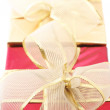 Red and gold gifts close-up — Stock Photo