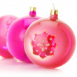 Pink Christmas balls — Stock Photo