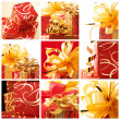 Collage of red-gold gifts - Stockfoto