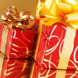 Red ornamented gifts - Stockfoto