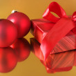 Christmas-tree decorations and gift - Stockfoto