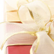 Red and gold gifts close-up - Stockfoto