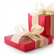 Red foil gifts - Stockfoto