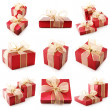 Collage of red gifts - Foto Stock