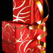 Red ornamented gifts - Foto Stock