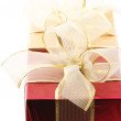 Red and gold gifts close-up - Foto Stock