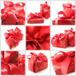 Collage of red gifts - Stockfoto