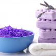 Bath salt, soap and lavander — Stock Photo