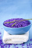 Bath salt, lavander and towel — Photo