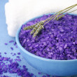 Bath salt, lavander and towel — Stock Photo #4465208