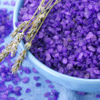 Bath salt and lavander — Stock Photo