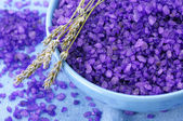Bath salt and lavander — Stockfoto