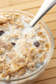 Muesli with milk close-up — Stock Photo