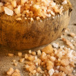 Stock Photo: Bath salt in coconut shell
