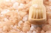 Bath salt and brush — Stock Photo