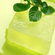 Handmade soap with mint - Stock Photo