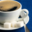 Cup of coffee and sugar — Stock Photo