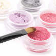 Eye shadows and brush — Stock Photo