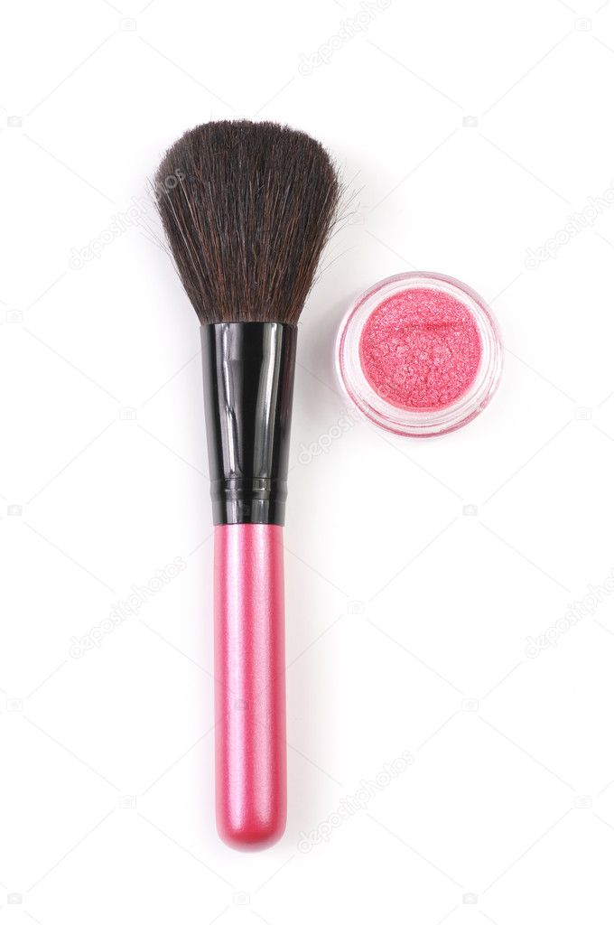 Pink make-up brush and pink powder blush in jar isolated on white background. — Stock Photo #4846625