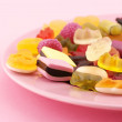 Assorted candy in plate - Stok fotoraf