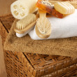 Stock Photo: SPA accessories on basket