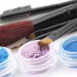 Eye shadows and brushes — Stockfoto
