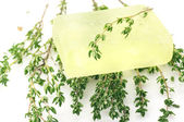 Handmade soap and thyme — Stock Photo
