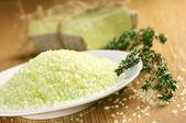 Koupelová sůl a mýdla — Stock fotografie