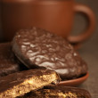 Chocolate cookies and coffee — Stock Photo