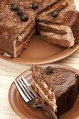 自制巧克力蛋糕特写 — 图库照片